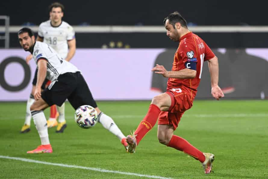 Goran Pandev scores against Germany in March's World Cup qualifying win