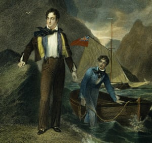 Lord Byron at the age of 19, with his boat and unnamed friend