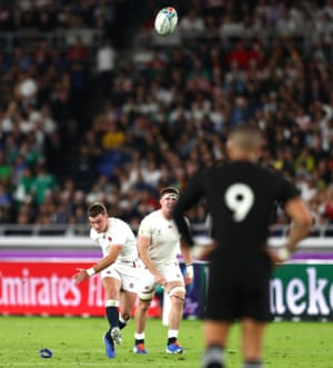 George Ford of England scores a penalty kick on half-time.