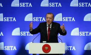 Turkish President Tayyip Erdogan speaking in Ankara today.