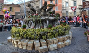 Sagra dell'uva Marino, Italy. Fountain in the town square