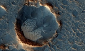 A photo from Nasa's Mars Reconnaissance Orbiter shows the Acidalia Planitia region of Mars depicted in The Martian.