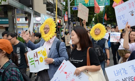 Soyoung Lee at a climate protest in September
