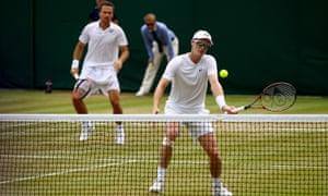 Jamie Murray, right, and Bruno Soares defeated Britain's Skupski brothers in the men's doubles to reach the quarter-finals.