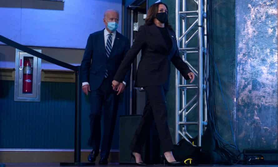 Kamala Harris and Joe Biden arrive to deliver remarks in Wilmington, Delaware.