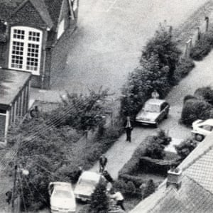 Armed police outside Michael Ryan's house in Hungerford in 1987