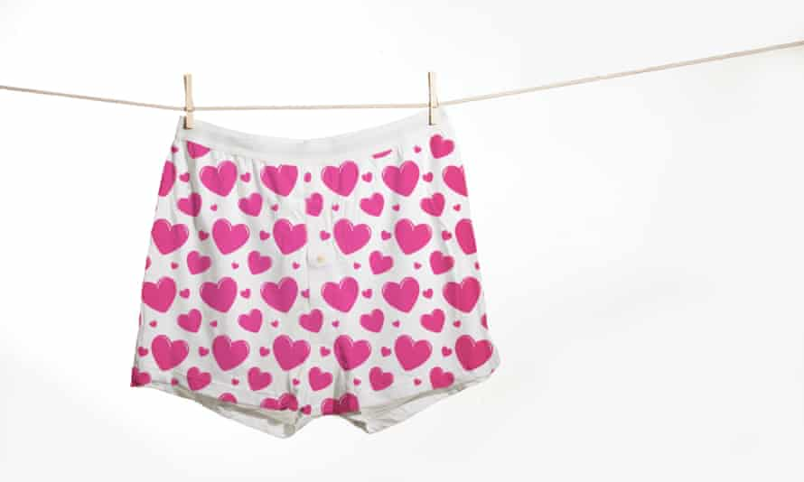 Love heart boxer shorts on clothes line