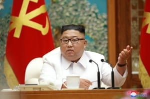 North Korean leader Kim Jong Un holds an emergency enlarged meeting of Political Bureau of WPK Central Committee in this undated photo released on 25 July, 2020 by North Korean Central News Agency (KCNA) in Pyongyang.