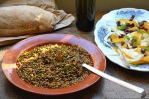 Lentil salad with orange and mint and Orange, fennel and olive salad