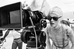 David Bowie shooting on location in White Sands near Alamogordo, New Mexico.