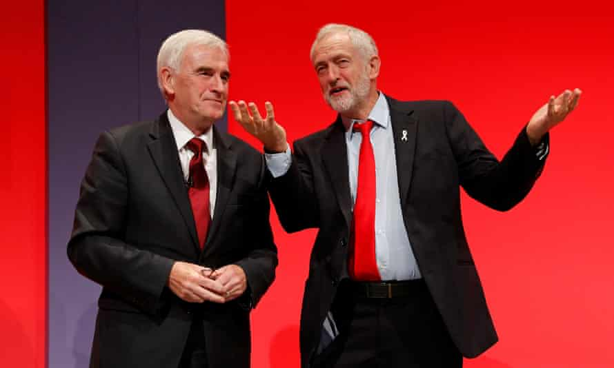 John McDonnell and Jeremy Corbyn at the Labour party conference in Liverpool, September 2016.