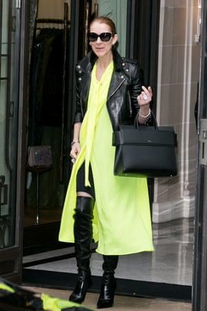 Balenciaga credentials … Céline Dion in Paris last June.