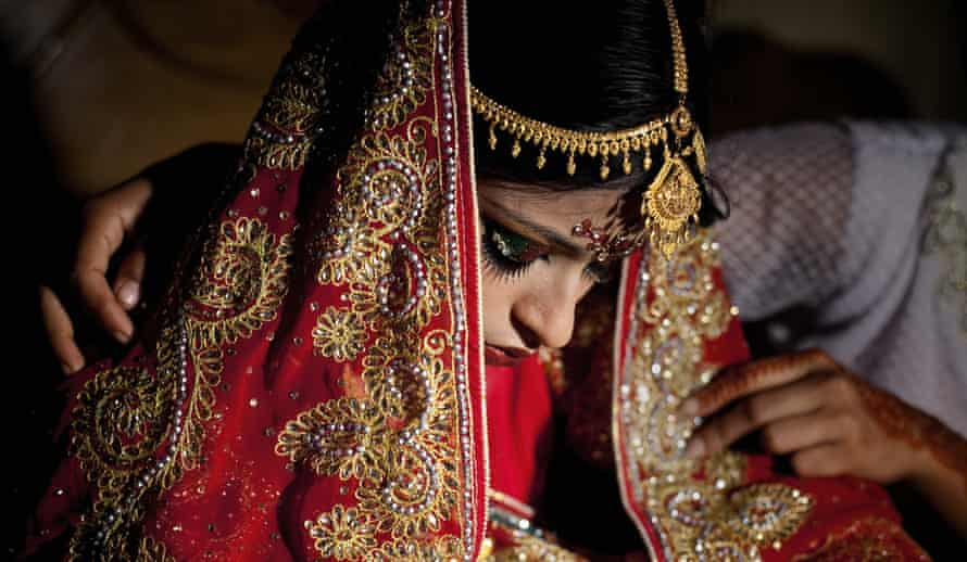 A 15-year-old girl on the day of her wedding to a 32-year-old man in Bangladesh