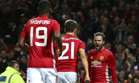 Juan Mata celebrates after scoring the only goal.