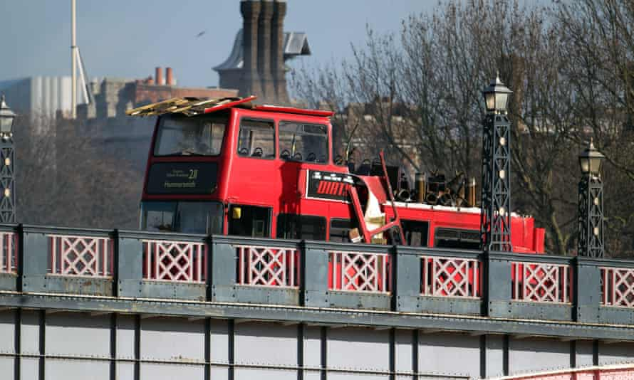 The bus after it exploded on Lambeth Bridge.