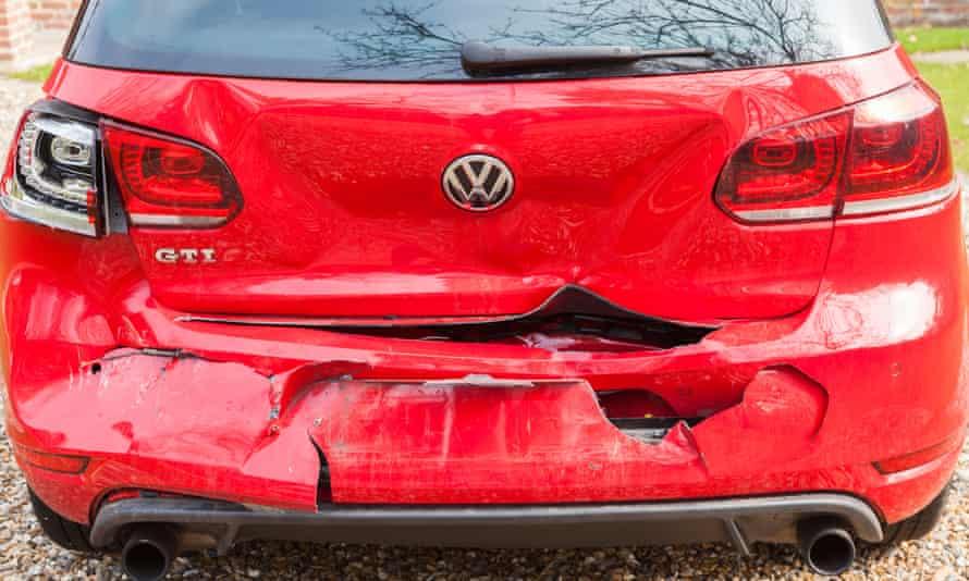 Volkswagen Golf GTI damaged in rear collision.