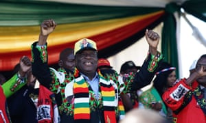 President Emmerson Mnangagwa at the rally at White City stadium in Bulawayo.