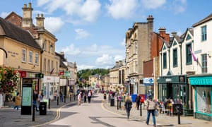 Shoppers on Chippenham High Street in Wiltshire, south-west England.