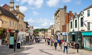 Chippenham high street with people shopping