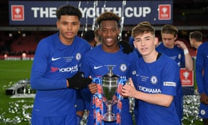 (Left to right) Tino Anjorin, Callum Hudson-Odoi and Billy Gilmour, Chelsea's goalscorers, with the FA Youth Cup after beating Arsenal.