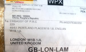 Label with Chinese embassy address.