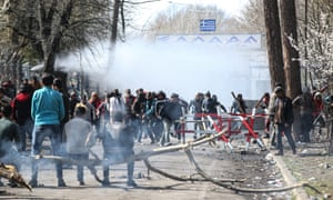 Teargas at a barrier
