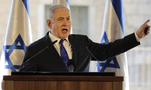 Benjamin Netanyahu during a ceremony in the Israeli-controlled part of the West Bank city of Hebron on Wednesday.