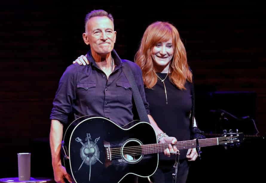 Bruce Springsteen and Patti Scialfa take a bow during reopening night of 'Springsteen on Broadway' for a full-capacity, vaccinated audience at St James Theatre in New York City Sunday night.