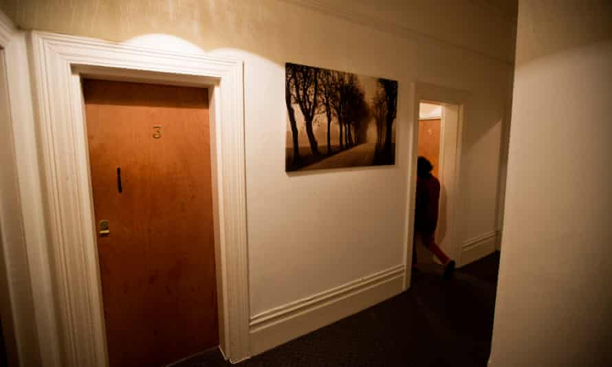 Doors to rooms at a temporary accommodation block in Lambeth, south London