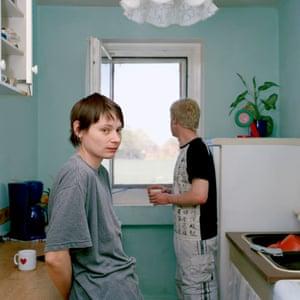 Kerstin and her boyfriend in their flat