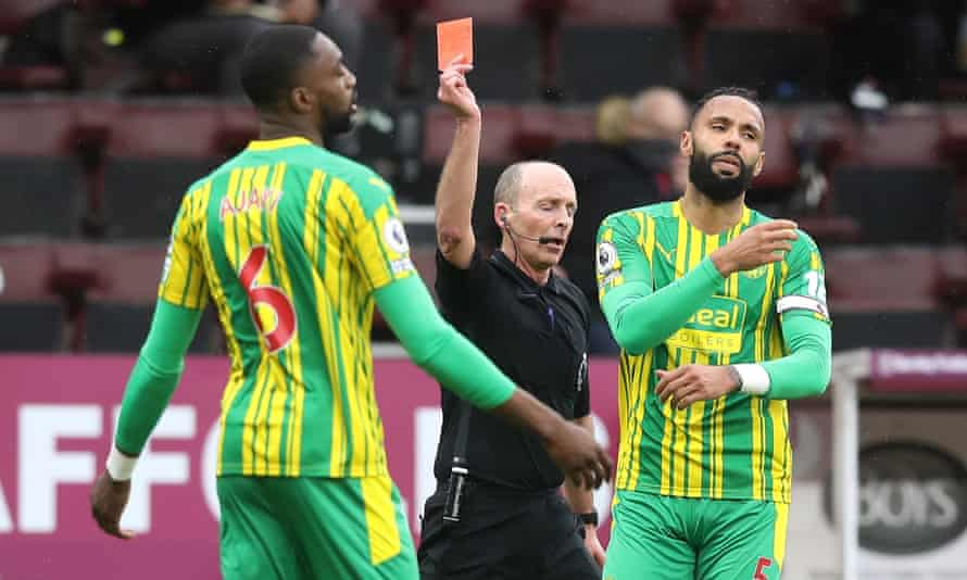 West Bromwich Albion's Semi Ajayi is sent off by Mike Dean at Burnley.