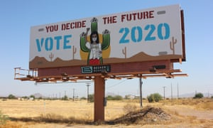 A billboard aimed at Native Americans in Arizona urging people to vote in the November 2020 US elections.