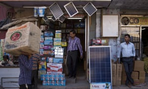 Solar panels for sale at a market in New Delhi