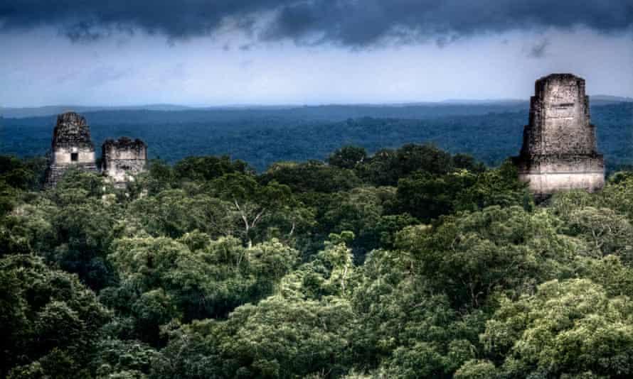 Maya temple ruins at Tikal, Guatemala.