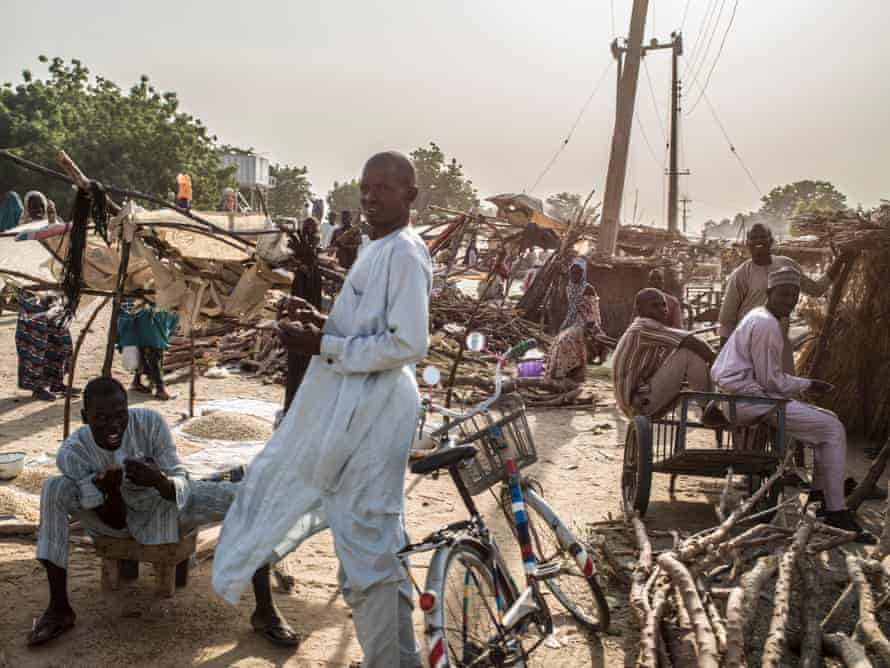 A wood market outside of the Muna camp for displaced persons, outside of Maiduguri.
