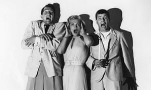 Jerry Lewis, with Dean Martin and Lizabeth Scott in a still from Scared Stiff, 1953.