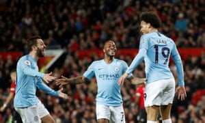 """Premier League - Manchester United v Manchester City<br>Soccer Football - Premier League - Manchester United v Manchester City - Old Trafford, Manchester, Britain - April 24, 2019  Manchester City's Leroy Sane celebrates scoring their second goal with Bernardo Silva and Raheem Sterling                  Action Images via Reuters/Carl Recine  EDITORIAL USE ONLY. No use with unauthorized audio, video, data, fixture lists, club/league logos or """"live"""" services. Online in-match use limited to 75 images, no video emulation. No use in betting, games or single club/league/player publications.  Please contact your account representative for further details."""