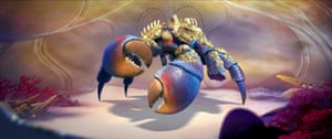 The villainous crustacean Tamatoa voiced by Jemaine Clement in Disney's Moana.