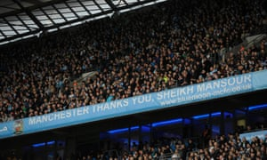 A banner in City's Etihad stadium thanks the club's owner, Sheikh Mansour of the UAE.