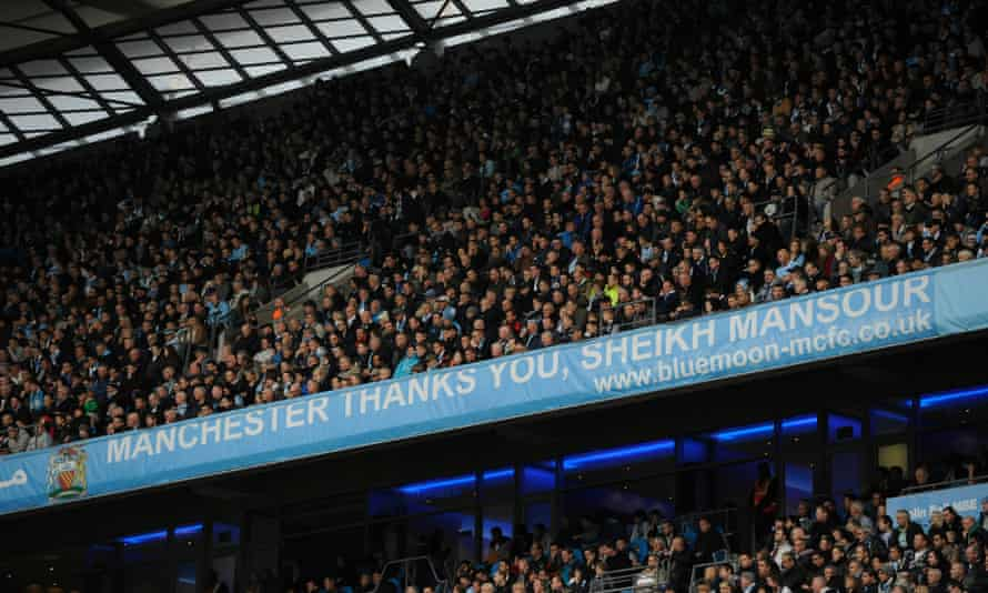 A banner at Manchester City thanking the owner Sheikh Mansour in 2011.