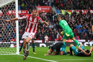 Peter Crouch celebrates scoring the winner as Stoke beat Southampton 2-1 at the Bet365 Stadium.