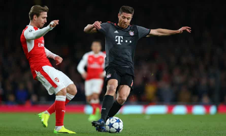 Xabi Alonso of Bayern Munich in action during the Champions League game against Arsenal this week.