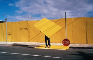 Stop 2011: A fallen stop sign and the dismantling of a hoarding provide focus for an abstract shot