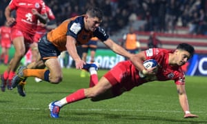 Romain Ntamack goes over for a Toulouse try against Montpellier.