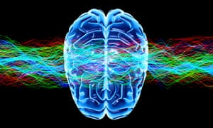 Human brain and waves, conceptual computer artwork.The front of the brain is at bottom.Human brain and waves, conceptual computer artwork.The front of the brain is at bottom.