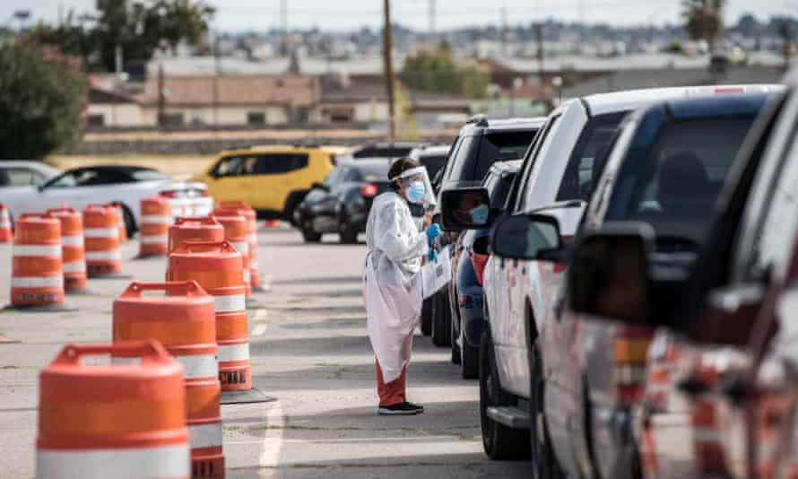 A coronavirus testing site in El Paso, Texas on 31 October 2020.