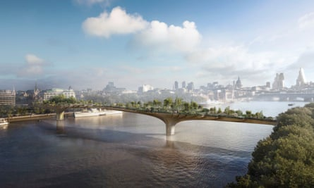 The planned garden bridge, which would reach from Temple to the South Bank in London.