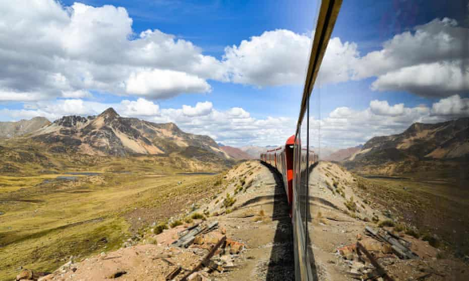 The Ferrocaril Central Andino train crosses the Andes en route from Lima to Huancayo, Peru.
