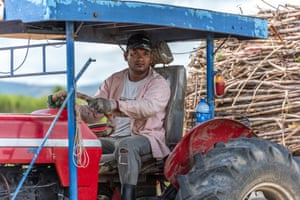 Binesh Chand in his tractor in the Korovatu area of Fiji