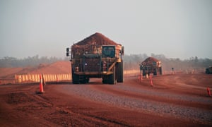 A haulage truck carrying bauxite at a Queensland mine
